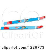 Clipart Of Blue And Red Skis Royalty Free Vector Illustration by Alex Bannykh