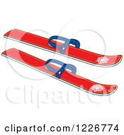 Clipart Of Red Skis Royalty Free Vector Illustration by Alex Bannykh