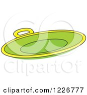Clipart Of A Round Green Sled Snow Saucer Royalty Free Vector Illustration