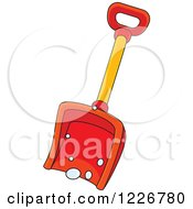Clipart Of A Red Snow Shovel Royalty Free Vector Illustration
