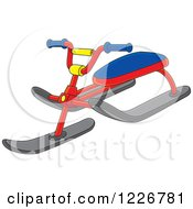 Clipart Of A Snow Sled Trike Bike Royalty Free Vector Illustration