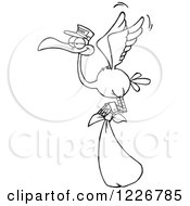 Clipart Of A Black And White Stork Flying With A Bundle Royalty Free Vector Illustration