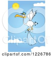 Clipart Of A Stork Flying With A Blue Boy Bundle Against A Sky Royalty Free Vector Illustration by Hit Toon