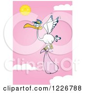 Clipart Of A Stork Flying With A Pink Girl Bundle Against A Sky Royalty Free Vector Illustration by Hit Toon