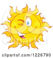 Clipart Of A Winking Sun Mascot Royalty Free Vector Illustration