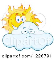 Clipart Of A Cheerful Sun Behind A Grumpy Cloud Royalty Free Vector Illustration