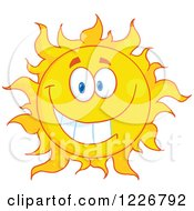 Clipart Of A Cheerful Sun Mascot Royalty Free Vector Illustration
