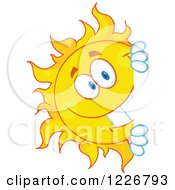 Clipart Of A Cheerful Sun Mascot Looking Around A Sign Royalty Free Vector Illustration
