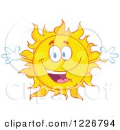 Clipart Of A Welcoming Sun Mascot Royalty Free Vector Illustration