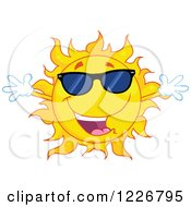 Clipart Of A Welcoming Sun Mascot Wearing Sunglasses Royalty Free Vector Illustration