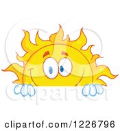 Clipart Of A Cheerful Sun Mascot Looking Over A Sign Royalty Free Vector Illustration