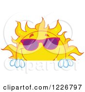 Clipart Of A Cheerful Sun Mascot With Shades Looking Over A Sign Royalty Free Vector Illustration