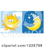 Clipart Of A Cheerful Sun And Bed Time Crescent Moon Royalty Free Vector Illustration