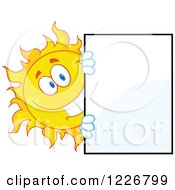 Clipart Of A Cheerful Sun Mascot Looking Around A Sign Board Royalty Free Vector Illustration