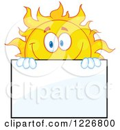 Clipart Of A Cheerful Sun Mascot Looking Over A Sign Board Royalty Free Vector Illustration