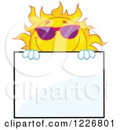 Clipart Of A Sun Mascot With Sunglasses Looking Around A Sign Board Royalty Free Vector Illustration