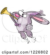 Clipart Of A Cartoon Purple New Year Party Rabbit Blowing A Horn Royalty Free Vector Illustration