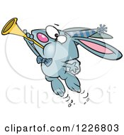 Clipart Of A Cartoon Blue New Year Party Rabbit Blowing A Horn Royalty Free Vector Illustration