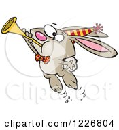 Clipart Of A Cartoon New Year Party Rabbit Blowing A Horn Royalty Free Vector Illustration by toonaday