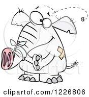 Cartoon White Elephant With Bandages