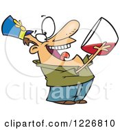 Clipart Of A Cartoon Party Man Drinking From The Punch Bowl Royalty Free Vector Illustration