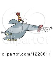 Clipart Of A Cartoon Party Elephant Blowing His Trunk Like A Horn Royalty Free Vector Illustration by toonaday