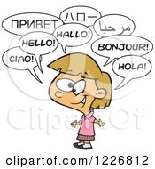 Clipart Of A Cartoon Happy Talking Multilingual Girl Royalty Free Vector Illustration