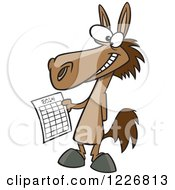 Clipart Of A Cartoon Happy Horse Holding A 2014 New Year Calendar Royalty Free Vector Illustration
