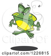Clipart Of A Cartoon Floating Meditating Frog And Fly Royalty Free Vector Illustration