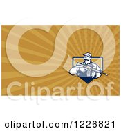 Clipart Of A Soldier Holding An Assault Rifle Background Or Business Card Design Royalty Free Illustration