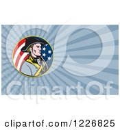 Clipart Of A American Patriot With A Musket Background Or Business Card Design Royalty Free Illustration