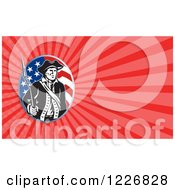 Clipart Of A American Patriot With A Bayonet Background Or Business Card Design Royalty Free Illustration