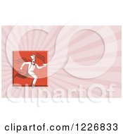 Clipart Of A Chef Running With Soup Background Or Business Card Design Royalty Free Illustration