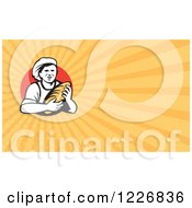 Clipart Of A Male Baker And Bread Background Or Business Card Design Royalty Free Illustration