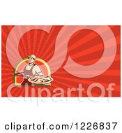 Clipart Of A Pizza Chef Background Or Business Card Design Royalty Free Illustration by patrimonio