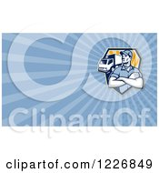 Clipart Of A Removal Or Delivery Man And Truck Background Or Business Card Design Royalty Free Illustration