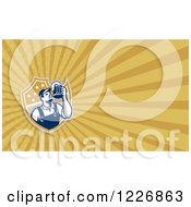 Clipart Of A Worker Having A Beer Background Or Business Card Design Royalty Free Illustration