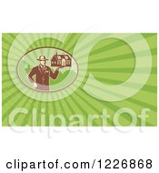 Clipart Of A Man Holding A House Background Or Business Card Design Royalty Free Illustration