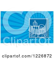 Clipart Of A Lady Justice Background Or Business Card Design Royalty Free Illustration by patrimonio