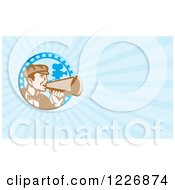 Clipart Of A Movie Director Using A Bullhorn Background Or Business Card Design Royalty Free Illustration by patrimonio