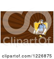 Clipart Of A Worker With A Sledgehammer Background Or Business Card Design Royalty Free Illustration
