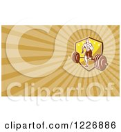 Clipart Of A Running Crossfit Man With A Barbell Background Or Business Card Design Royalty Free Illustration