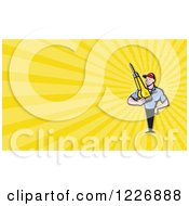 Construction Worker And Jackhammer Background Or Business Card Design