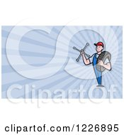 Clipart Of A Mechanic With A Tire And Socket Wrench Background Or Business Card Design Royalty Free Illustration by patrimonio