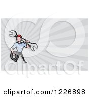 Clipart Of A Mechanic With A Tire And Wrench Background Or Business Card Design Royalty Free Illustration by patrimonio