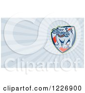 Clipart Of A Bulldog Biting A Wrench And Rays Background Or Business Card Design Royalty Free Illustration by patrimonio