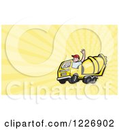 Clipart Of A Cement Mixer Truck Driver And Rays Background Or Business Card Design Royalty Free Illustration by patrimonio