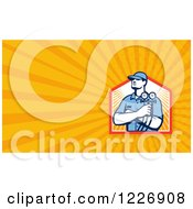 Clipart Of A Refrigeration Mechanic Background Or Business Card Design Royalty Free Illustration by patrimonio
