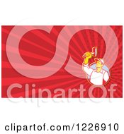 Clipart Of A Worker With A Hammer Background Or Business Card Design Royalty Free Illustration by patrimonio