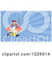 Clipart Of A Running Mason Background Or Business Card Design Royalty Free Illustration by patrimonio